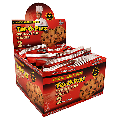 Chef Jays Tri-O-Plex Cookies - Chocolate Chip - 12 ea