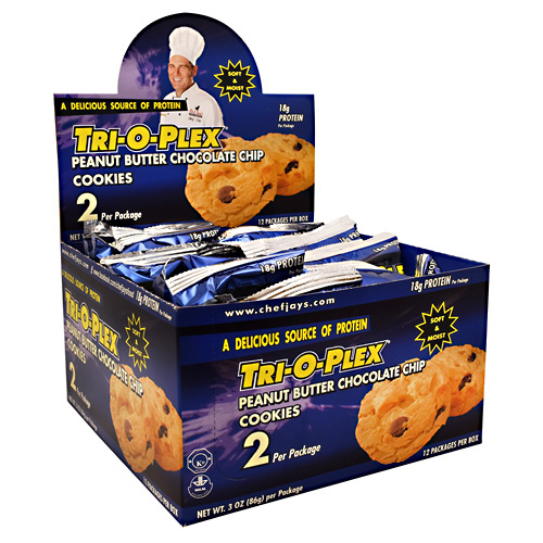 Chef Jays Tri-O-Plex Cookies - Peanut Butter Chocolate Chip - 12 ea