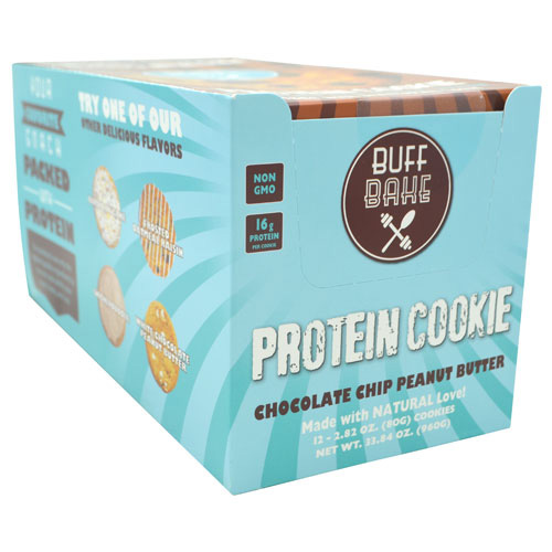 Buff Bake Protein Cookie - Chocolate Chip Peanut Butter - 12 ea