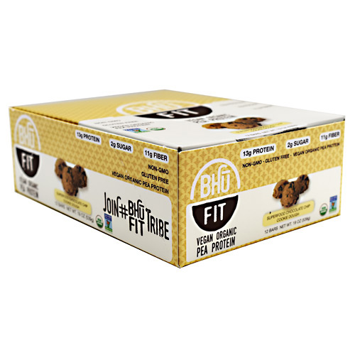 BHU Foods Vegan BHU Fit Bar - Superfood Chocolate Chip Cookie Dough - 12 ea