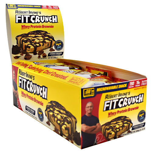 Fit Crunch Bars Whey Protein Brownie - Cookie Dough - 12 ea