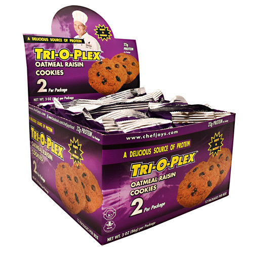 Chef Jays Tri-O-Plex Cookies - Oatmeal Raisin - 12 ea