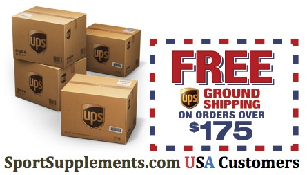 Free USA UPS Shipping for Discount Sport Nutrition Customers