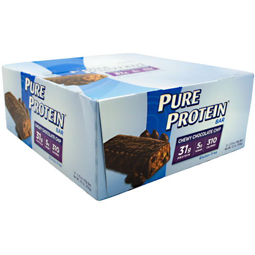 Worldwide Sport Nutritional Supplements Pure Protein High Protein Bar - Chewy Chocolate Chip - 12 ea