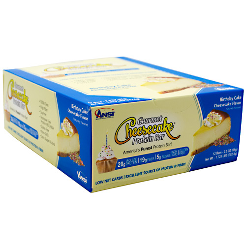 Advanced Nutrient Science INTL Gourmet Cheesecake Protein Bar - Birthday Cake Cheesecake Flavor - 12 ea