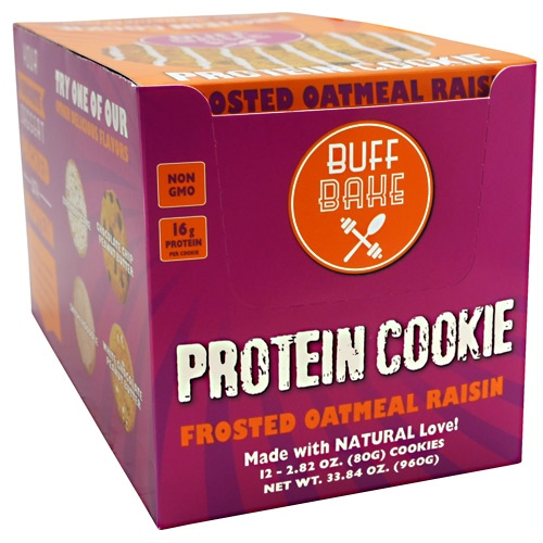 Buff Bake Protein Cookie - Frosted Oatmeal Raisin - 12 ea