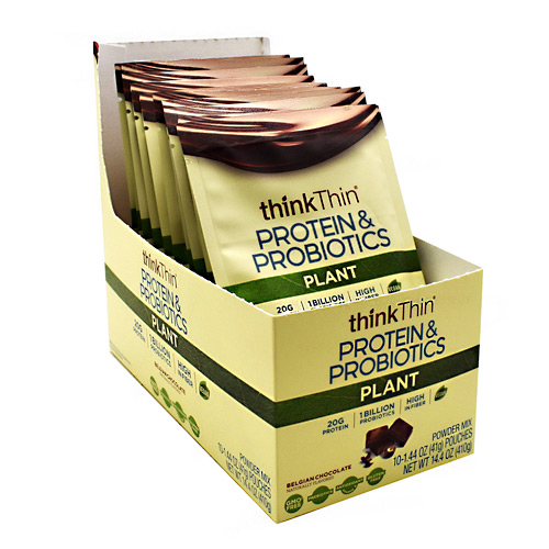 Think Products Plant Protein & Probiotics - Belgian Chocolate - 10 ea