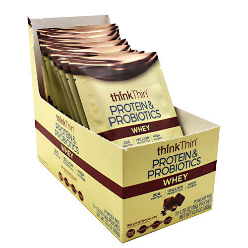 thinkThin Whey Protein & Probiotics - Belgian Chocolate - 10 ea
