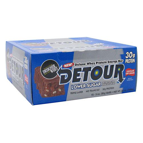 Forward Foods Detour Low Sugar Deluxe Whey Protein Energy Bar - Chocolate Chip Caramel - 12 ea