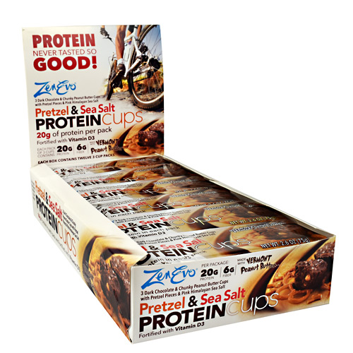 ZenEvo Protein Cups - Pretzel and Sea Salt - 12 ea