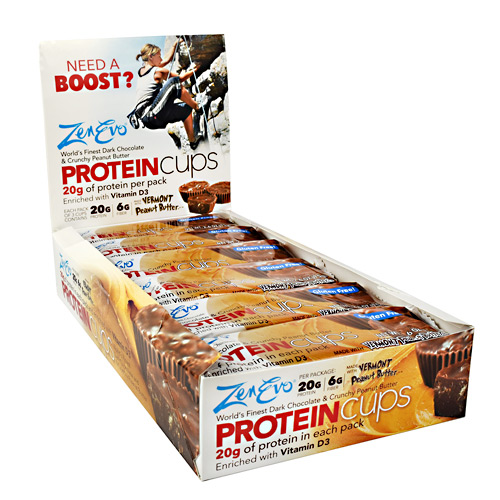 ZenEvo Protein Cups - Dark Chocolate and Crunchy Peanut Butter - 12 ea