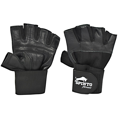 Spinto Fitness Mens Weight Lifting Gloves with Wrist Wraps - Black, (L) - 1 ea