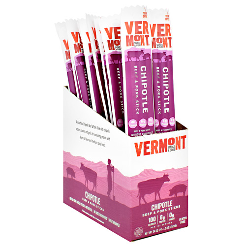Vermont Smoked Meats Beef & Pork Sticks - Chipotle - 24 ea