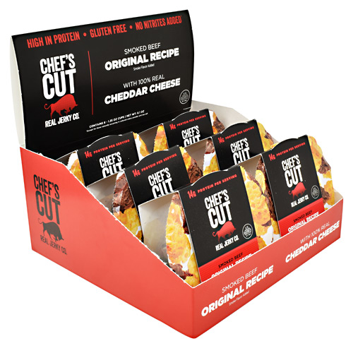 Chefs Cut Real Jerky Protein Snack Pack - Beef and Cheddar - 6 ea