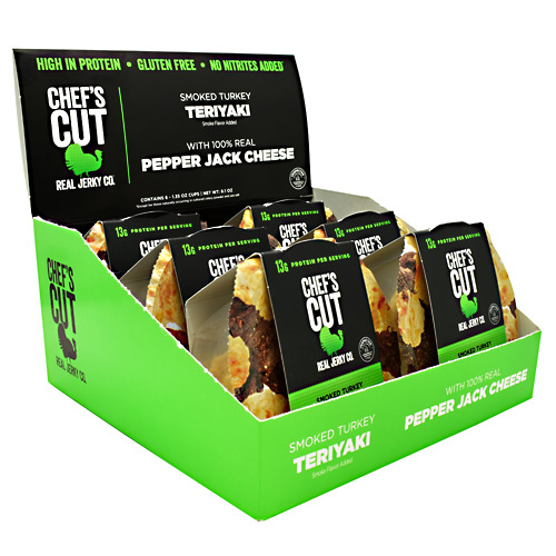 Chefs Cut Real Jerky Protein Snack Pack - Smoked Turkey Teriyaki & Pepper Jack Cheese - 6 ea