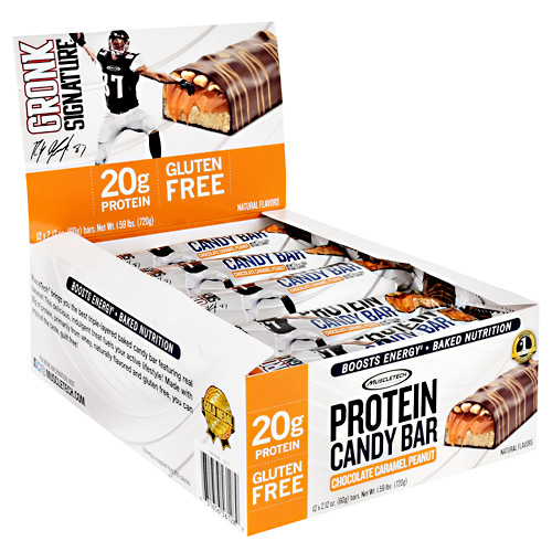 Muscletech Gronk Signature Protein Candy Bar - Chocolate Caramel Peanut - 12 ea