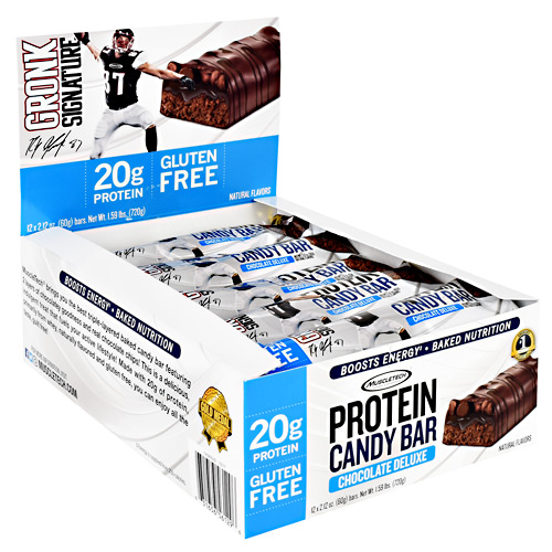 Muscletech Gronk Signature Protein Candy Bar - Chocolate Deluxe - 12 ea