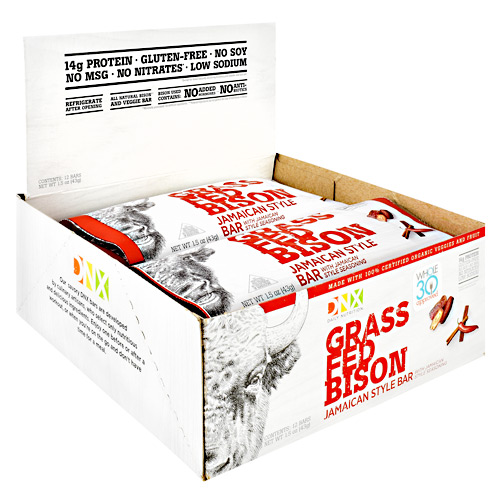 DNX Bars Grass Fed Bison Bar - Jamaican Style - 12 ea