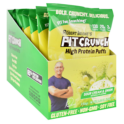Fit Crunch Bars High Protein Puffs - Sour Cream and Onion - 8 ea