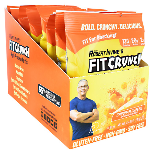 Fit Crunch Bars High Protein Puffs - Cheddar Cheese - 8 ea