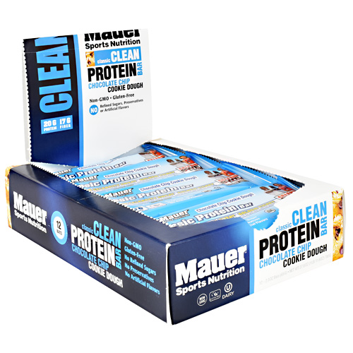 Mauer Sports Nutrition Classic Protein Bar - Chocolate Chip Cookie Dough - 12 ea