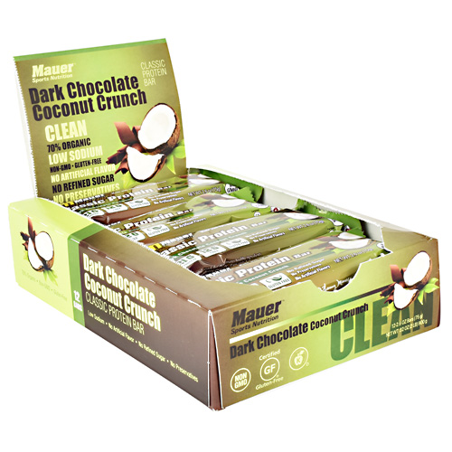 Mauer Sports Nutrition Classic Protein Bar - Dark Chocolate Coconut Crunch - 12 ea