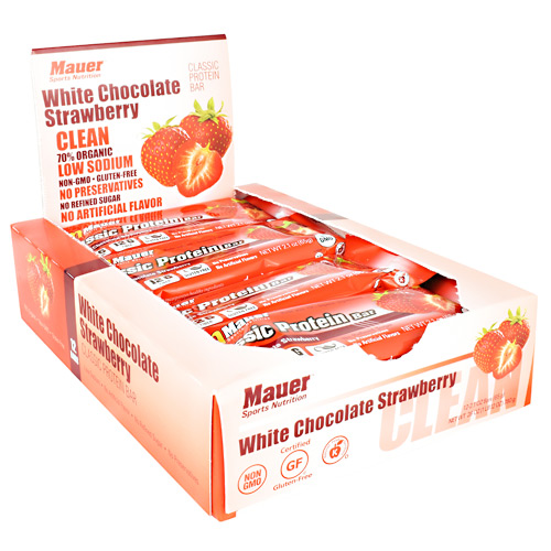 Mauer Sports Nutrition Classic Protein Bar - White Chocolate Strawberry - 12 ea