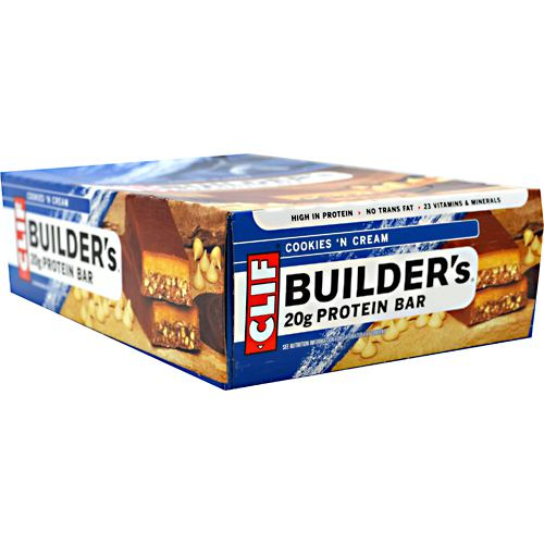 Clif Bar Builders Cocoa Dipped Double Decker Crisp Bar - Cookies 'N Cream - 12 ea